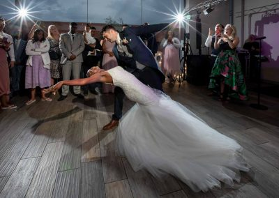 bride and groom first dance swallows nest