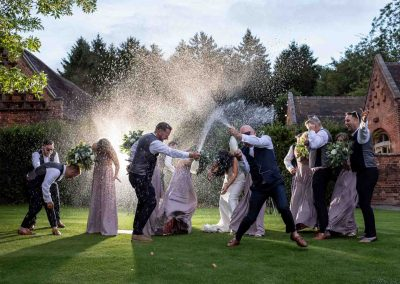 Bridal party champagne shower celebrations