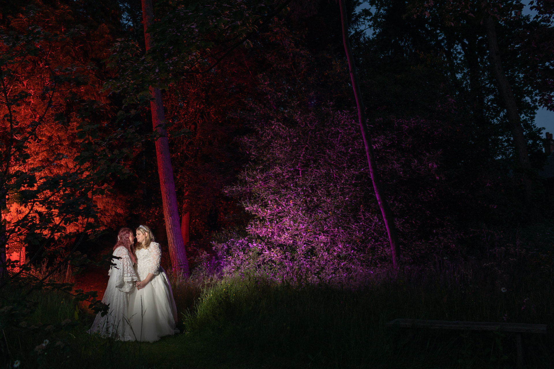 Photo of two brides at Intimate Kilworth House Wedding